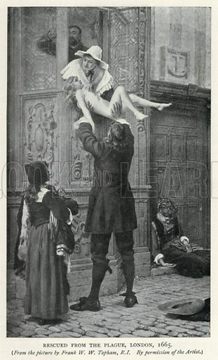 Rescued from the Plague, London, 1665. Illustration for The Pageant of British History by J Edward Parrott (Nelson, 1909).