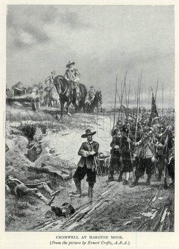 Cromwell at Marston Moor. Illustration for The Pageant of British History by J Edward Parrott (Nelson, 1909).