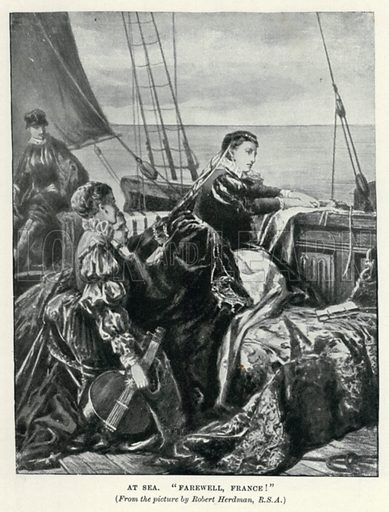 """At Sea. """"Farewell, France!"""" Illustration for The Pageant of British History by J Edward Parrott (Nelson, 1909)."""
