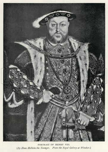 Portrait of Henry VIII. Illustration for The Pageant of British History by J Edward Parrott (Nelson, 1909).