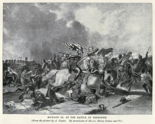 Richard III at the Battle of Bosworth. Illustration for The Pageant of British History by J Edward Parrott (Nelson, 1909).