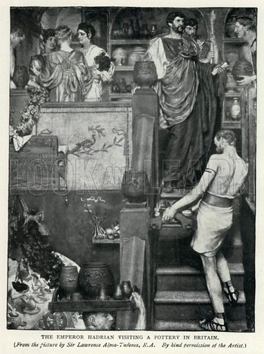 The Emperor Hadrian Visiting a Pottery in Britain. Illustration for The Pageant of British History by J Edward Parrott (Nelson, 1909).