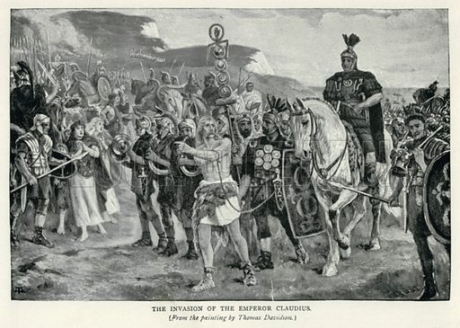 The Invasion of the Emperor Claudius. Illustration for The Pageant of British History by J Edward Parrott (Nelson, 1909).