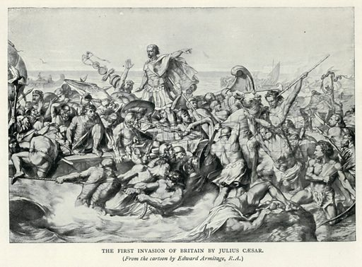 The First Invasion of Britain by Julius Caesar. Illustration for The Pageant of British History by J Edward Parrott (Nelson, 1909).