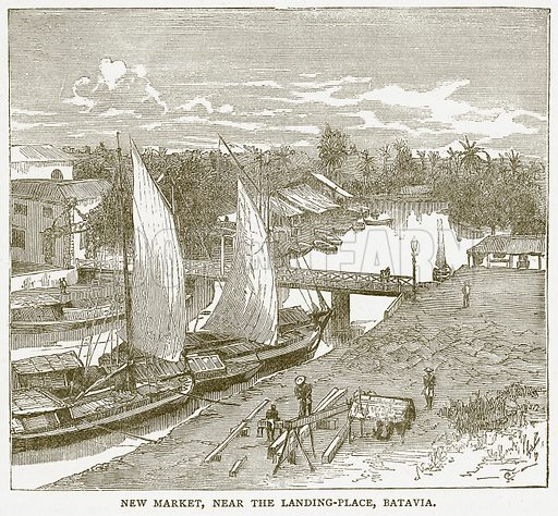 New Market, near the Landing-Place, Batavia. Illustration for Pictorial Records of Remarkable Events (James Sangster, c 1880).
