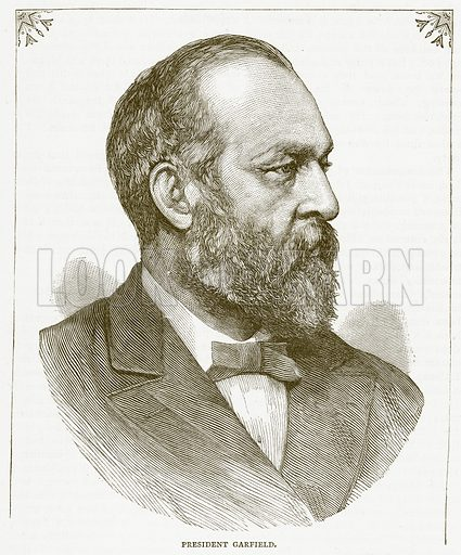 President Garfield. Illustration for Pictorial Records of Remarkable Events (James Sangster, c 1880).