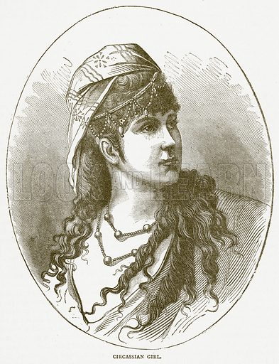 Circassian Girl. Illustration for Pictorial Records of Remarkable Events (James Sangster, c 1880).