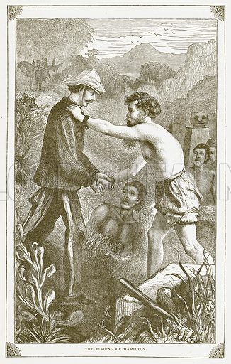 The Finding of Hamilton. Illustration for Pictorial Records of Remarkable Events (James Sangster, c 1880).