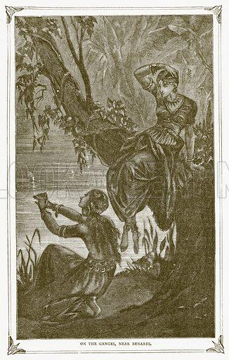 On the Ganges, near Benares. Illustration for Pictorial Records of Remarkable Events (James Sangster, c 1880).