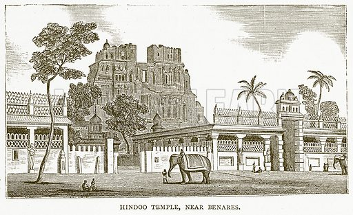 Hindoo Temple, near Benares. Illustration for Pictorial Records of Remarkable Events (James Sangster, c 1880).