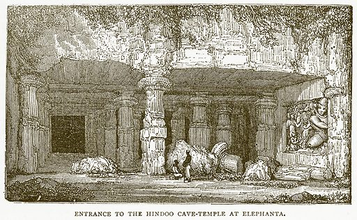 Entrance to the Hindoo Cave-Temple at Elephanta. Illustration for Pictorial Records of Remarkable Events (James Sangster, c 1880).