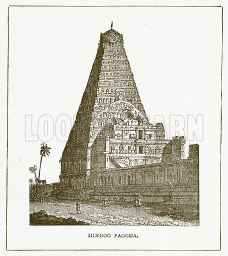 Hindoo Pagoda. Illustration for Pictorial Records of Remarkable Events (James Sangster, c 1880).