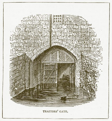 Traitors' Gate. Illustration for Pictorial Records of Remarkable Events (James Sangster, c 1880).