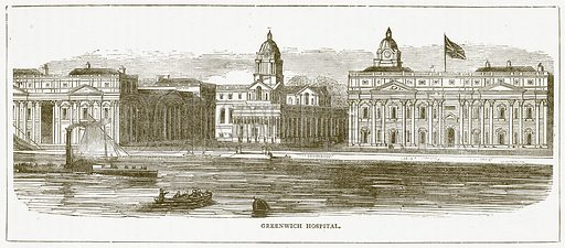 Greenwich Hospital. Illustration for Pictorial Records of Remarkable Events (James Sangster, c 1880).
