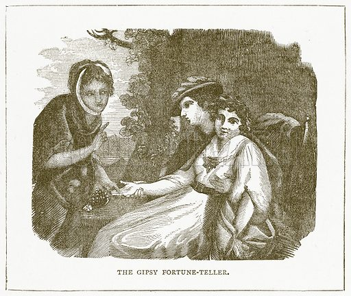 The Gipsy Fortune-Teller. Illustration for Pictorial Records of Remarkable Events (James Sangster, c 1880).