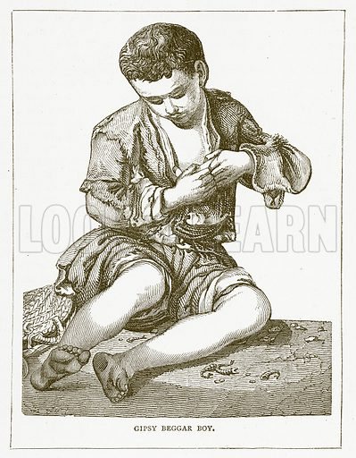 Gipsy Beggar Boy. Illustration for Pictorial Records of Remarkable Events (James Sangster, c 1880).