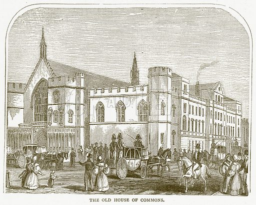 The Old House of Commons. Illustration for Pictorial Records of Remarkable Events (James Sangster, c 1880).