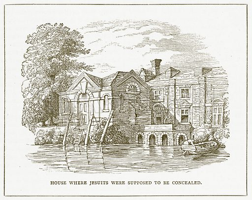 House where Jesuits were supposed to be Concealed. Illustration for Pictorial Records of Remarkable Events (James Sangster, c 1880).