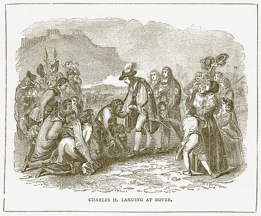 Charles II landing at Dover. Illustration for Pictorial Records of Remarkable Events (James Sangster, c 1880).