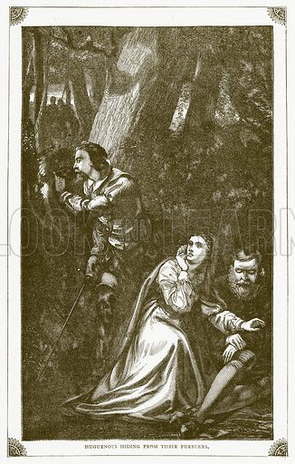 Huguenots hiding from their Pursuers. Illustration for Pictorial Records of Remarkable Events (James Sangster, c 1880).