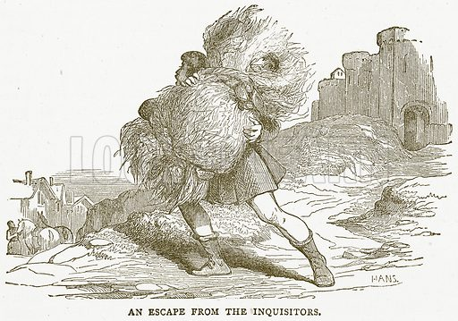An Escape from the Inquisitors. Illustration for Pictorial Records of Remarkable Events (James Sangster, c 1880).