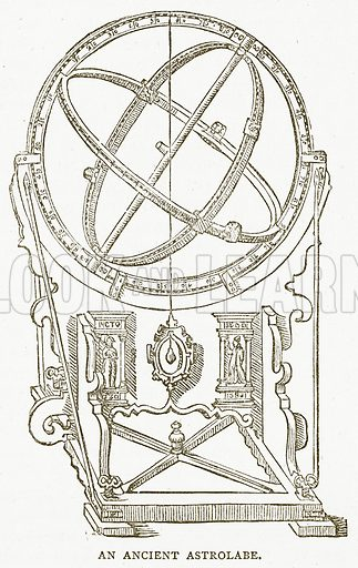 An Ancient Astrolabe. Illustration for Pictorial Records of Remarkable Events (James Sangster, c 1880).