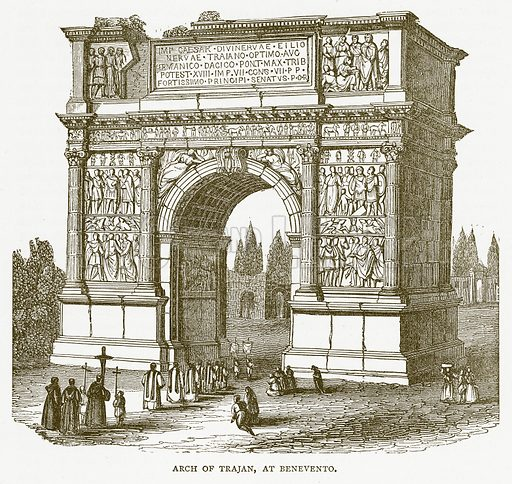 Arch of Trajan, at Benevento. Illustration for Pictorial Records of Remarkable Events (James Sangster, c 1880).