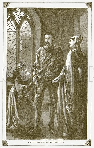 A Knight of the Time of Edward III. Illustration for Pictorial Records of Remarkable Events (James Sangster, c 1880).