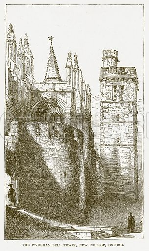 The Wykeham Bell Tower, New College, Oxford. Illustration for Pictorial Records of Remarkable Events (James Sangster, c 1880).