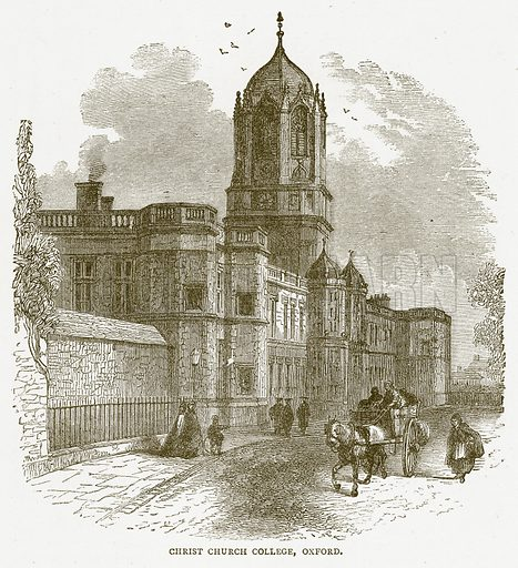 Christ Church College, Oxford. Illustration for Pictorial Records of Remarkable Events (James Sangster, c 1880).