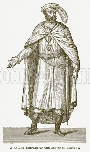 A Knight Templar of the Eleventh Century. Illustration for Pictorial Records of Remarkable Events (James Sangster, c 1880).