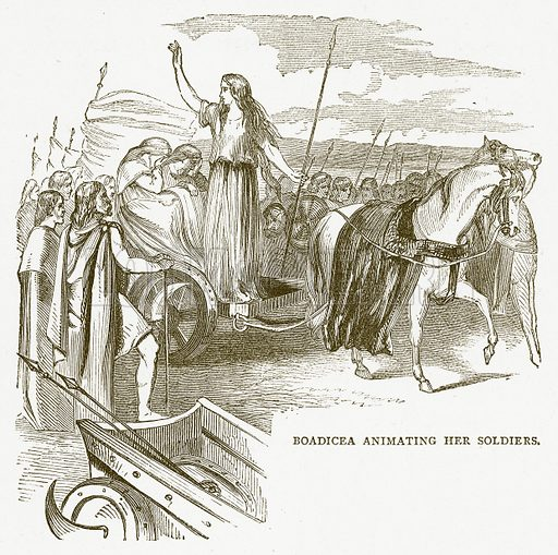Boadicea Animating her Soldiers. Illustration for Pictorial Records of Remarkable Events (James Sangster, c 1880).