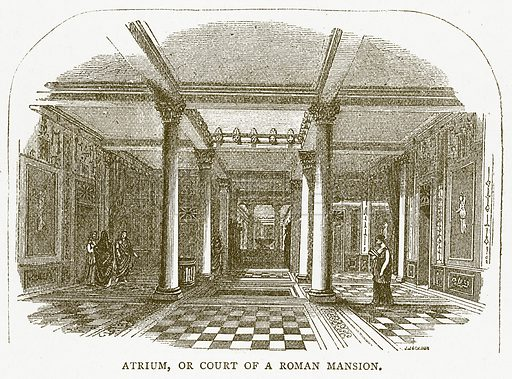 Atrium, or Court of a Roman Mansion. Illustration for Pictorial Records of Remarkable Events (James Sangster, c 1880).