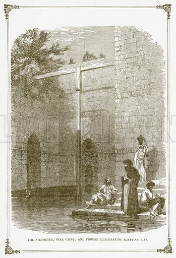 The Nilometer, near Cairo; and Figures Illustrating Egyptian Life. Illustration for Pictorial Records of Remarkable Events (James Sangster, c 1880).