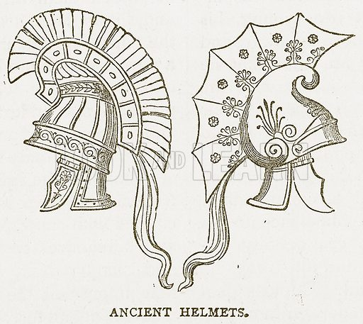Ancient Helmets. Illustration for Pictorial Records of Remarkable Events (James Sangster, c 1880).