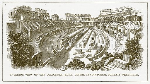 Interior View of the Colosseum, Rome, where Gladiatorual Combats were held. Illustration for Pictorial Records of Remarkable Events (James Sangster, c 1880).