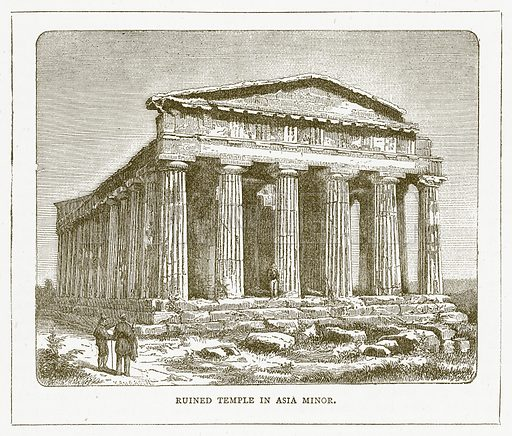 Ruined Temple in Asia Minor. Illustration for Pictorial Records of Remarkable Events (James Sangster, c 1880).