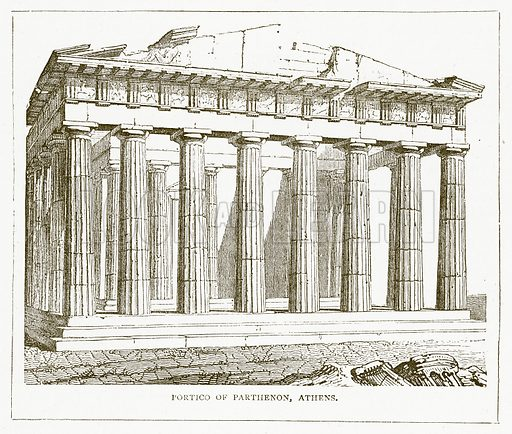Portico of Parthenon, Athens. Illustration for Pictorial Records of Remarkable Events (James Sangster, c 1880).