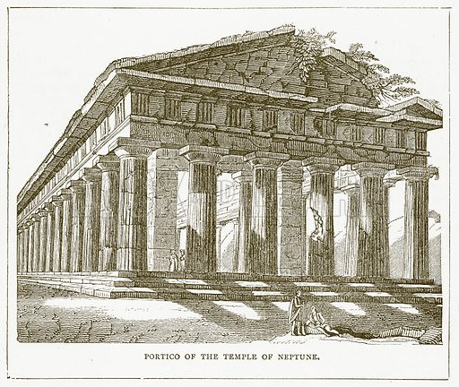 Portico of the Temple of Neptune. Illustration for Pictorial Records of Remarkable Events (James Sangster, c 1880).