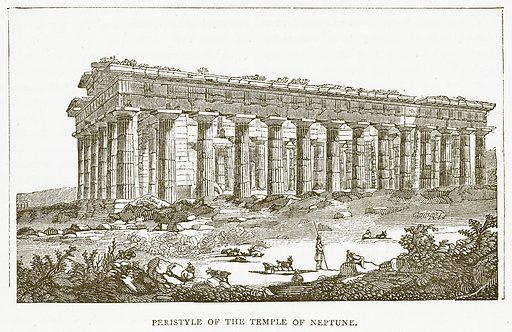 Peristyle of the Temple of Neptune. Illustration for Pictorial Records of Remarkable Events (James Sangster, c 1880).