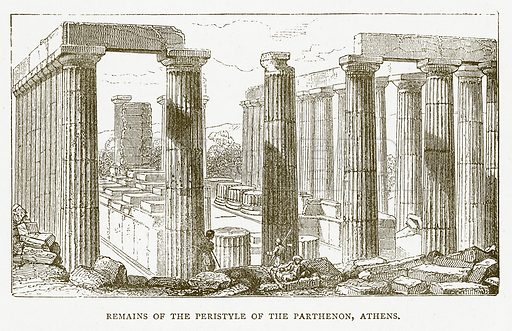 Remains of the Peristyle of the Parthenon, Athens. Illustration for Pictorial Records of Remarkable Events (James Sangster, c 1880).