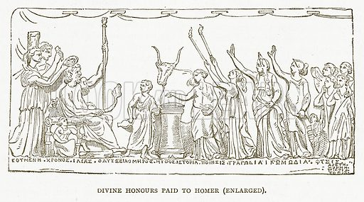 Divine Honours Paid to Homer (Enlarged). Illustration for Pictorial Records of Remarkable Events (James Sangster, c 1880).