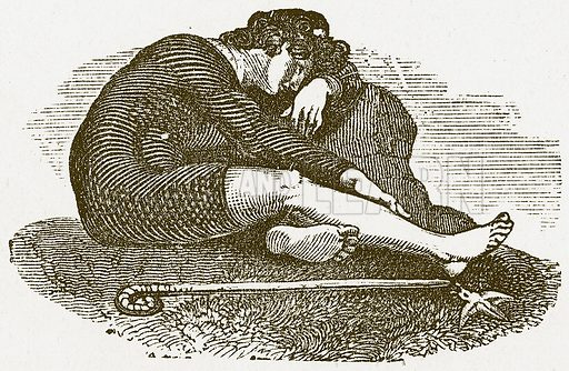Young Man Resting. Illustration for Pictorial Records of Remarkable Events (James Sangster, c 1880).