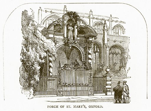 Porch of St Mary's, Oxford. Illustration for Pictorial Records of Remarkable Events (James Sangster, c 1880).