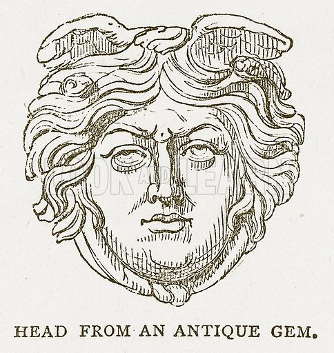 Head from an Antique Gem. Illustration for Pictorial Records of Remarkable Events (James Sangster, c 1880).
