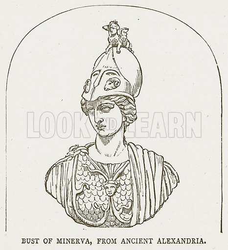 Bust of Minerva, from Ancient Alexandria. Illustration for Pictorial Records of Remarkable Events (James Sangster, c 1880).