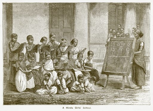 A Hindu Girls' School. Illustration for The Children of India (Religious Tract Society, c 1875).