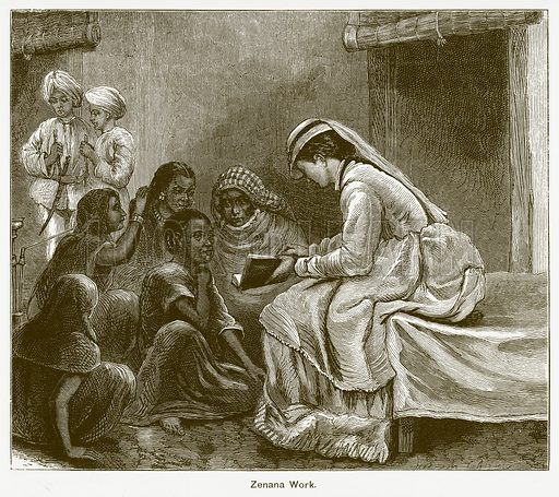 Zenana Work. Illustration for The Children of India (Religious Tract Society, c 1875).