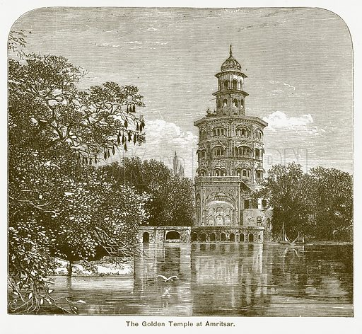 The Golden Temple at Amritsar. Illustration for The Children of India (Religious Tract Society, c 1875).