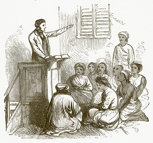 Missionary Preaching. Illustration for The Children of India (Religious Tract Society, c 1875).